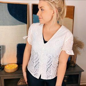ADIVA White Lace Eyelet Shirt